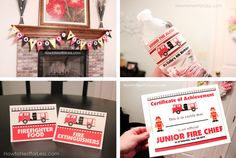 """GREAT ideas and printables for a """"firetruck"""" themed birthday party!!!  :)"""
