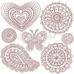 Henna Mehndi Paisley Doodle Vector Design Elements by blue67 - Stock Vector