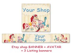 Etsy toy kids shop banner avatar Digital images download Personalized Etsy banner made by FrezeArt