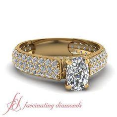 Three Row Pave Set Round Diamond Milgrain Engagement Ring 1.90 Ct Cushion Cut (eBay Link)
