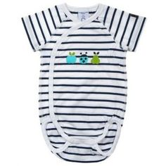 Colourful, organic cotton babygrow, in blue and red luxury newborn baby gift