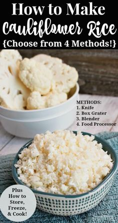 Learn How to Make Cauliflower Rice using these tips on how to rice cauliflower 4 ways, how to cook it, how to store it, plus how to freeze cauliflower rice. How To Cook Cauliflower, Beef Recipes, Cooking Recipes, Healthy Recipes, Cooking Tips, Healthy Rice, Healthy Habits, Healthy Meals, Eating Clean