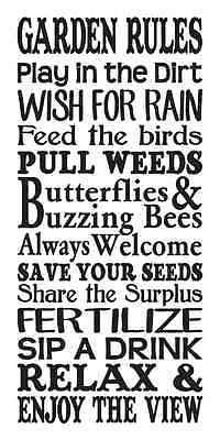 Garden Rules STENCIL Large for Painting Signs Spring Summer Canvas Fabric Airbrush Crafts Walls Outdoor Decor This is a brand new stencil Laser cut from commercial grade Clear or Blue 7 mil Mylar that can be used and cleaned over and over again.