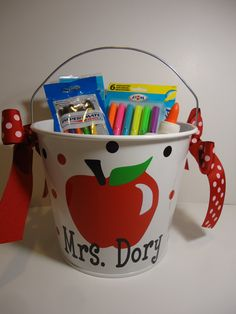 Personalized teacher gift bucket, basket, pail -  apple design, Many colors and designs available. 5 quart