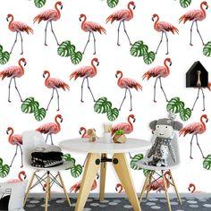 Fotobehang Flamingo patroon 2 | Een vrolijk behang in jouw kamer? Het fotobehang Flamingo patroon 2 past zeker bij de sfeer die je zoekt. Het fotobehang is op maat en in verschillende typen behang verkrijgbaar. Zelfs zelfklevend! #fotobehang #behang #behangen #interieur #styling #diy #vliesbehang #zelfklevend #flamingo #flamingos #patroon #illustratie #oranje #meisjes #tiener #slaapkamer