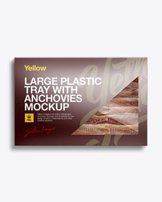 Large Plastic Tray W/ Anchovies Mockup. The tray in a carton box (preview)