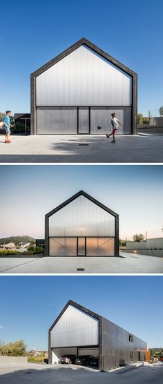 At the rear of this house, semi-transparent material finishes the house design, and when opened reveals the garage.