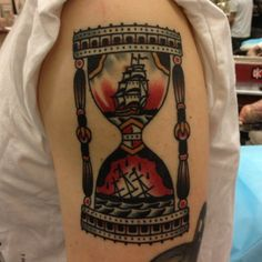 Paul Dobleman Traditional Tattoo Hourglass, Traditional Tattoos, Hourglass Tattoo, Punk Tattoo, Watch Tattoos, Deathly Hallows Tattoo, Tattoo Designs, Tattoo Ideas, Pop Punk