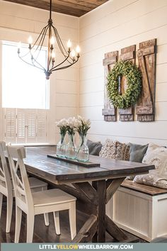 These decorative shutters are easy to build and add a touch of rustic to charm to any wall. Simple instructions that are easy to follow that including that chippy farmhouse finish. #farmhouse #rustic #walldecor #woodworking #DIY #diningroom #homedecor #DIYprojects