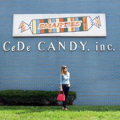 Denim On Denim look, as styled by fashion influencer and NJ fashion blogger House Of Jeffers. The wall is part of CeDe Candy Factory in Union, NJ - makers of Smarties!