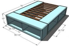Would be soo nice to have considering our bedroom is on the small side. DIY Bed Frame with Storage