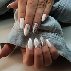 ads ads 43 White nail art designs – The Perfect manicure minimalist & Great with any outfit , simple white nail designs , white nail designs with diamonds, white nail… Aycrlic Nails, Nail Manicure, Fun Nails, Nail Polish, Snow Nails, Winter Nails, Pretty Nails, White Manicure, Sparkle Nails