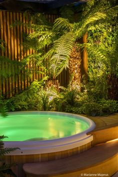 Calm in the City - Garden Design & Landscaping Project Garden Jacuzzi Ideas, Garden Ideas Uk, Hot Tub Garden, Garden Inspiration, Tropical Backyard Landscaping, Tropical Garden Design, Hot Tub Surround, Bali Garden, Garden Swimming Pool