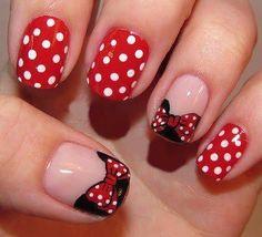 Minnie Mouse nail art.