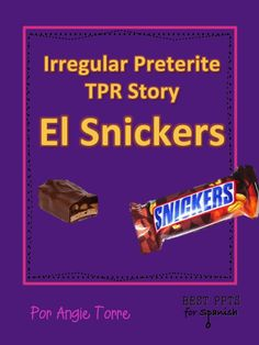 This Irregular Preterite TPR Story PowerPoint is about a teacher who loves Snickers. Even though she does everything she can to hide her extra-large Snickers from her students they keep finding it and eating it. Finally, she manages to keep it for herself but then has a bigger problem. This Spanish TPR Story repeats the irregular preterite of the following verbs: estar, poner, venir, ver, ir, irse, and tener. Students recycle the verbs in context by rewriting the story, changing only the underli
