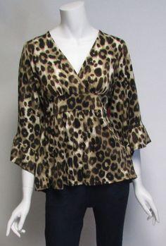 Betsey Johnson Animal Print Kimino Sleeve Blouse Top Shirt Sz XL NWT #BetseyJohnson #KnitTop #Many