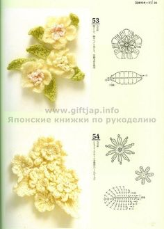 Crochet flowers with diagrams