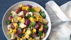 Whole grain mustard and olive oil take the place of traditional mayonnaise in this Potato and Zucchini Salad.