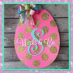 Easter Egg with Gold Glitter Dots  Initial Hand painted Spring Door Hanger Easter Door Hanger by WeeksAndCo on Etsy https://www.etsy.com/listing/265627103/easter-egg-with-gold-glitter-dots