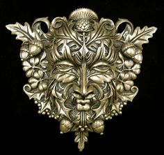 Greenman Wall Plaque - Cold Cast Bronze - pagan wiccan witchcraft magick ritual supplies