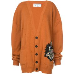 Faith Connexion v-neck cardigan ($2,220) ❤ liked on Polyvore featuring tops, cardigans, v neck cardigan, orange cardigan, orange top, v-neck cardigan and cardigan top