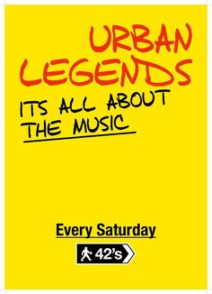 Book Tickets for Urban Legends at 42nd Street, Manchester on Sat 2nd Jul 2016 - brought to you by 42nd Street Nightclub.