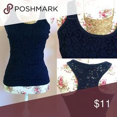 Aeropostale Racerback Gorgeous Preloved Aeropostale tank top in size XS. (Can fit a small medium at most! Example I am 32C usually wear smalls/mediums and it fits!) Stunning floral lace detailing and cute navy color so super versatile💙 Length: 24.5 inch Bust: 13.5 inch Aeropostale Tops Tank Tops