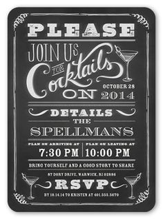 Chalkboard Cocktails 5x7 Stationery Card by pottsdesign | Shutterfly