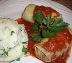 ... Vegan Cabbage Rolls with Garlic, Parsley, and Scallion Mashed Potatoes