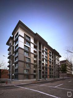40 Amazing Apartment Building Facade Architecture Design – Architecture is art Building Exterior, Building Facade, Building Design, Building Ideas, Japanese Apartment, Architecture Design, Residential Architecture, Design Exterior, Facade Design