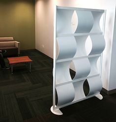 LOFTwall's 4' All white Wave Wall. Office Dividers, Divider Screen, All White, Bookcase, Waves, Shelves, Design, Home Decor, Office Partitions