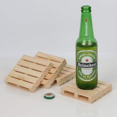 Looking for the bustling excitement of a shipping warehouse but don't really want to do any hard labour? Pick up these pall Pallet Coasters, Palette, Wooden Pallets, Christmas And New Year, Triangle, Bottle, Canada, Heineken, Gift Ideas