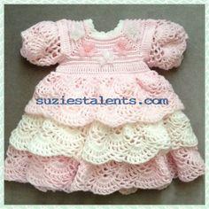SALE - Crochet Baby Layers Dress, Baby Christening Dress,Ruffle Dress