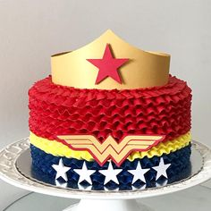 Celebrate your child's birthday party with this delicious Wonder Woman cake. We have all Marvel and DC themed cakes. Order this birthday cake online today 5th Birthday Girls, Superman Birthday Party, Birthday Cakes For Women, Cool Birthday Cakes, Birthday Fun, Birthday Ideas, Wonder Woman Birthday Cake, Wonder Woman Cake, Wonder Woman Party