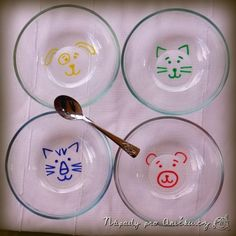 Glass bowls with animals faces (IKEA Hackers) Fun Crafts For Kids, Toddler Crafts, Projects For Kids, Arts And Crafts, Diy Crafts, Porcelain Pens, Sharpie Markers, Ikea Hackers, Craft Day