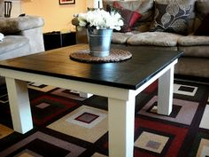 Kitchen - dark table, white legs (but in kitchen table size) | two-tone table