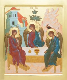 Icon of the Holy Trinity - Icons from the Workshop of St. Elisabeth's Convent - Handmade - Hand-Painted - Visit our website for more information: http://catalog.obitel-minsk.com/icon-painting -  #CatalogOfGoodDeeds #Orthodox #Eastern #Church #Orthodoxy, #Miracle, #Blessed #Faith #Holy #Jesus #Christ #Savior