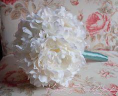 Cream Peony and Tiffany Blue Wedding Bouquet by KateSaidYes