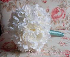 Cream Peony and Tiffany Blue Wedding Bouquet by KateSaidYes