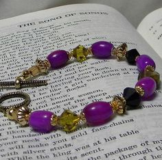 Dark Red Violet Gold and Black Bracelet by marilyn1545 on Etsy, $20.00