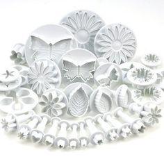33-teiliges Dekorations-Set für Torten / Zuckerhandwerk with Ausstechformen / Druckstempel für Blumen / Laubblatt / Formen By KurtzyTM