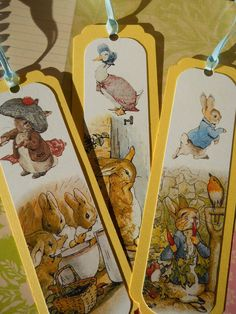 Items similar to Peter Rabbit Bookmark, Gift Tag Beatrix Potter on Etsy Peter Rabbit Birthday, Peter Rabbit Party, Greeting & Note Cards, Beatrix Potter Books, Beatrice Potter, Peter Rabbit And Friends, Here Comes Peter Cottontail, Paper Toy, Decoupage Vintage