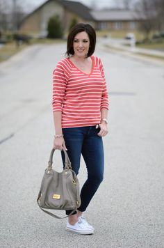 Casual Spring Outfit: Striped V-Neck Pullover, Cropped Skinnies & Converse