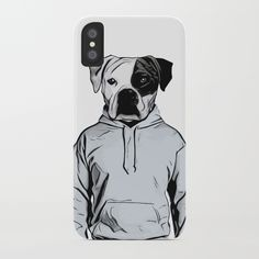 Cool Dog by Nicklas Gustafsson iPhone Case #dog #bulldog #boxer #human #illustration #hoody #hoodie #iphone #case