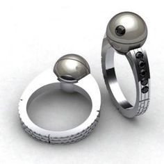 death star engagement ring featuring a tahitian pearl - Star Trek Wedding Ring