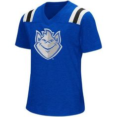 Colosseum Athletics Girls' Saint Louis University Rugby Short Sleeve T-shirt (Blue, Size X Large) - NCAA Licensed Product, NCAA Youth Apparel at Ac...