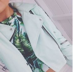 Tropical shirt and mint leather jacket