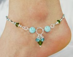 Anklet Ankle Bracelet Aqua Blue Jade Jewelry by ABeadApartJewelry