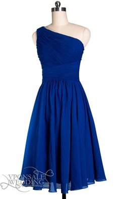 Blue One Shoulder Pleated Short Bridesmaid Dress DVW0131
