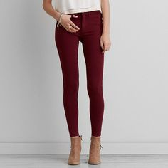 AEO Knit X Jegging (Jeans) ($50) ❤ liked on Polyvore featuring jeans, maroon and american eagle outfitters